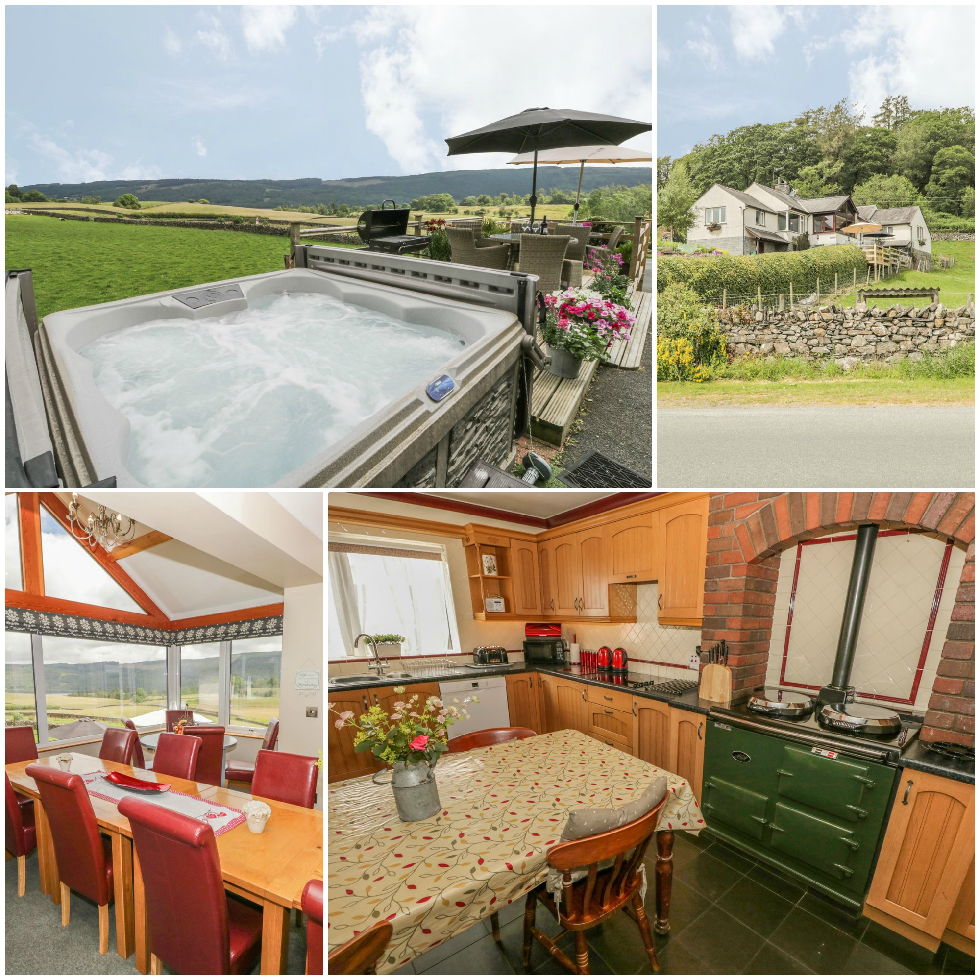 Sleeps 16 near Coniston with lovely views and a hot tub and Aga - pet friendly