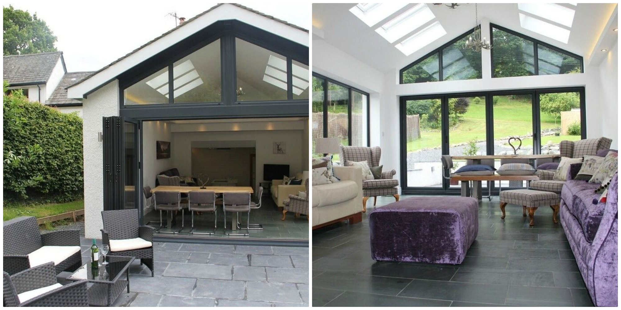 We love this glass wall with bi-fold doors, leading to the slate patio and garden
