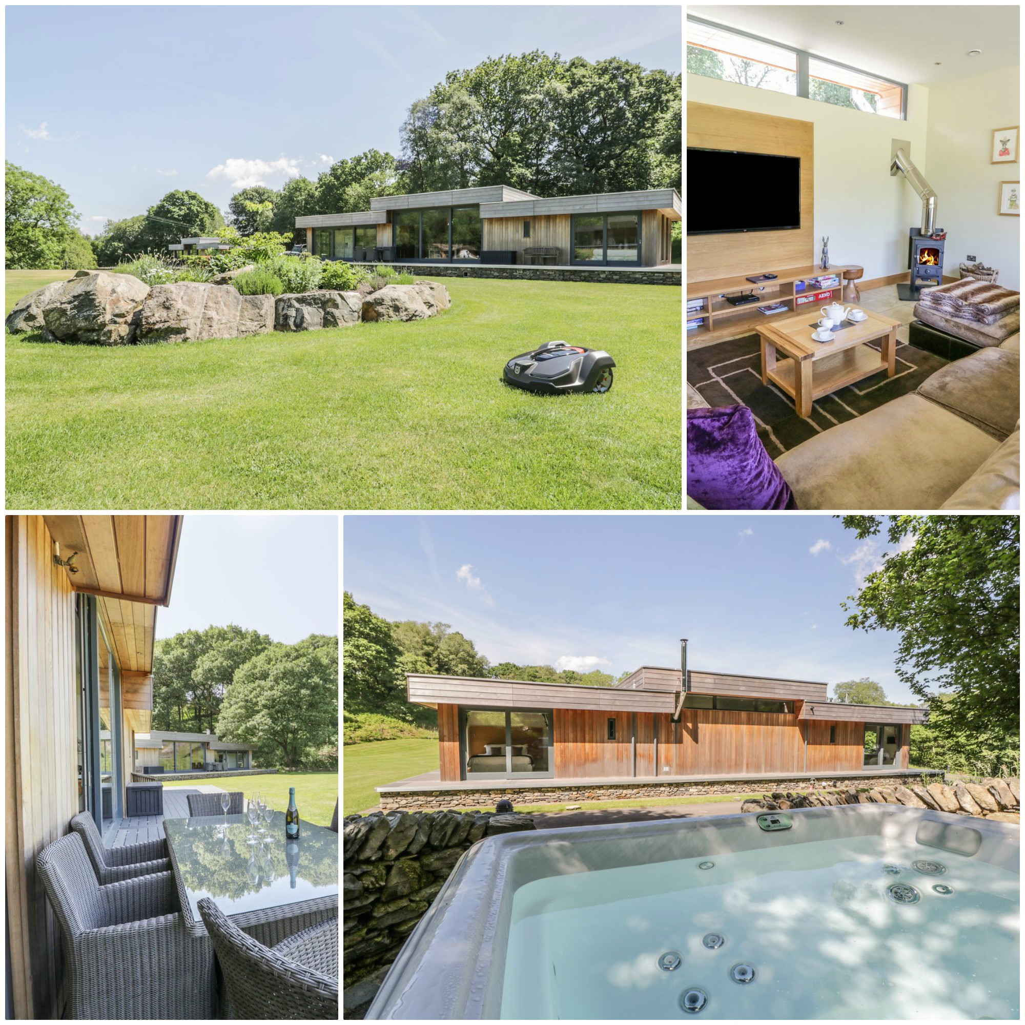 sleeps 6 in a tranquil setting with its own hot tub