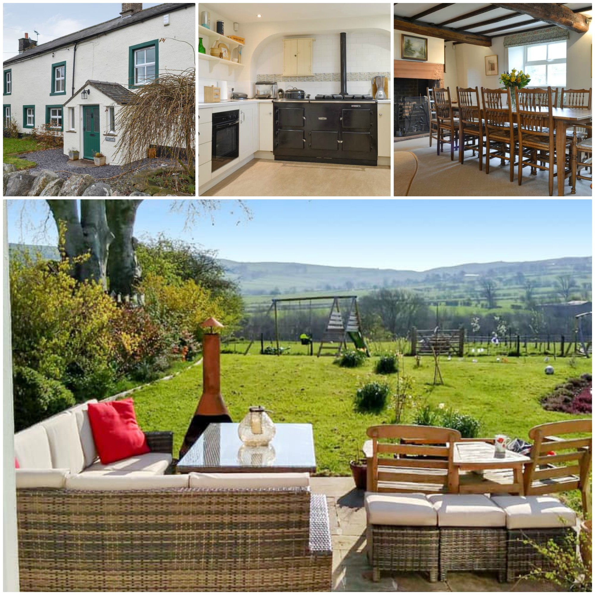 fabulous rural location with views - private enclosed garden and further shared garden with fire pit and kids play area
