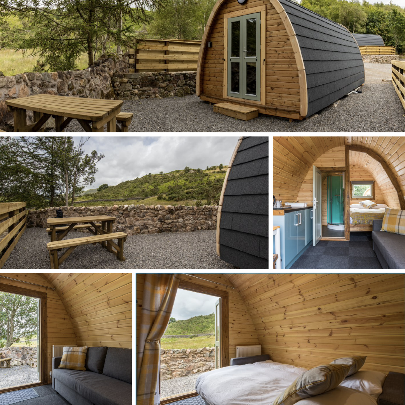 These camping pods are wonderfully furbished and have an enviable location with a great pub next door and walks from the door