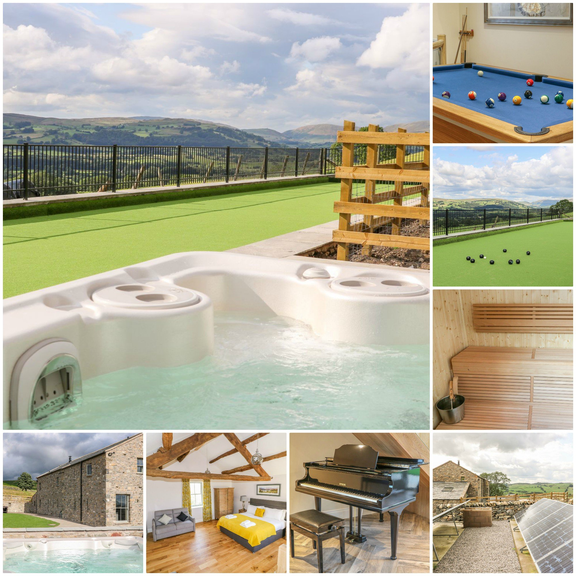 beautiful countryside, a hot tub, sauna and a bowling green!