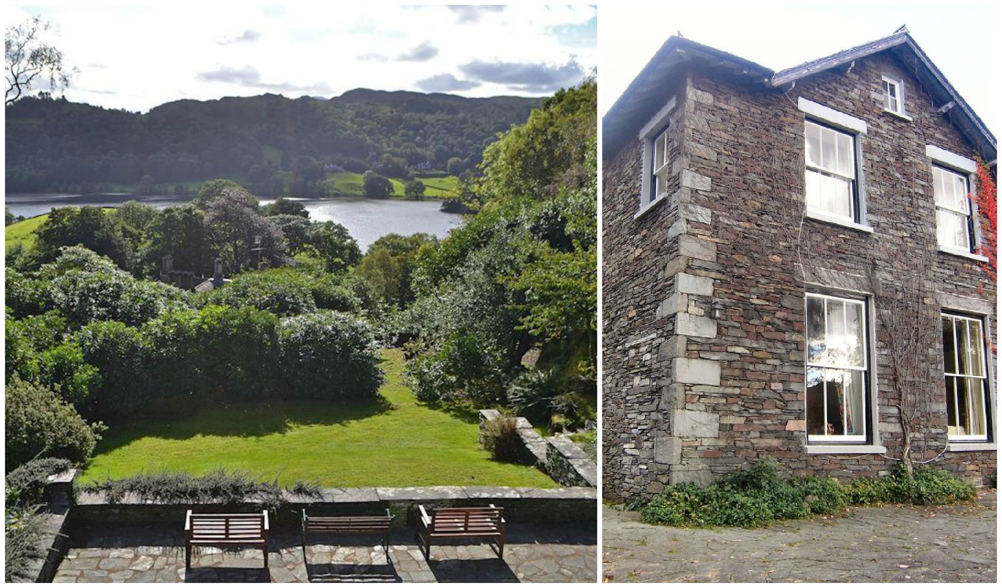 Self-catering apartment for 6 with spectacular view of Grasmere from the mature gardens