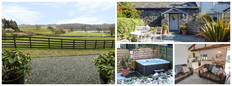 A hot tub and a view of Esthwaite water - this lovely property on a working farm is about a mile from pretty Hawkshead