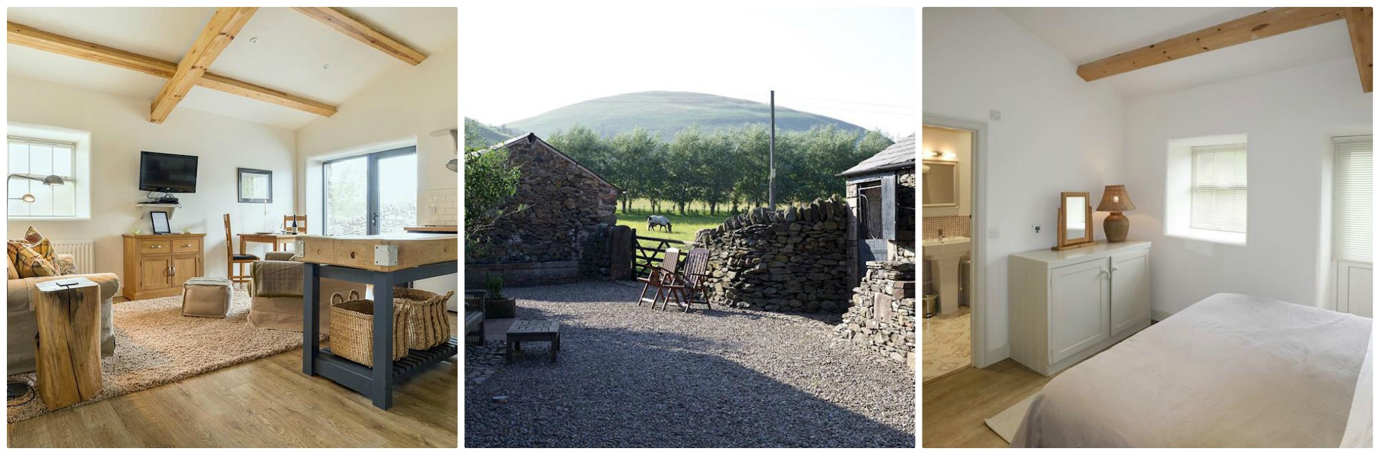 Sleeps 2 (2 dogs welcome, too) in a converted barn